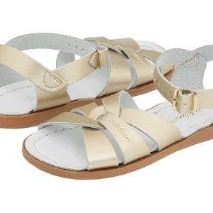 Saltwater Leather Sandals Hoy Shoes Gold Metallic